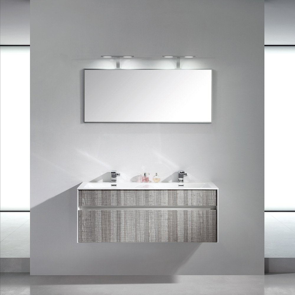 Lusso stone encore double designer wall mounted bathroom - Designer wall hung bathroom vanity units ...