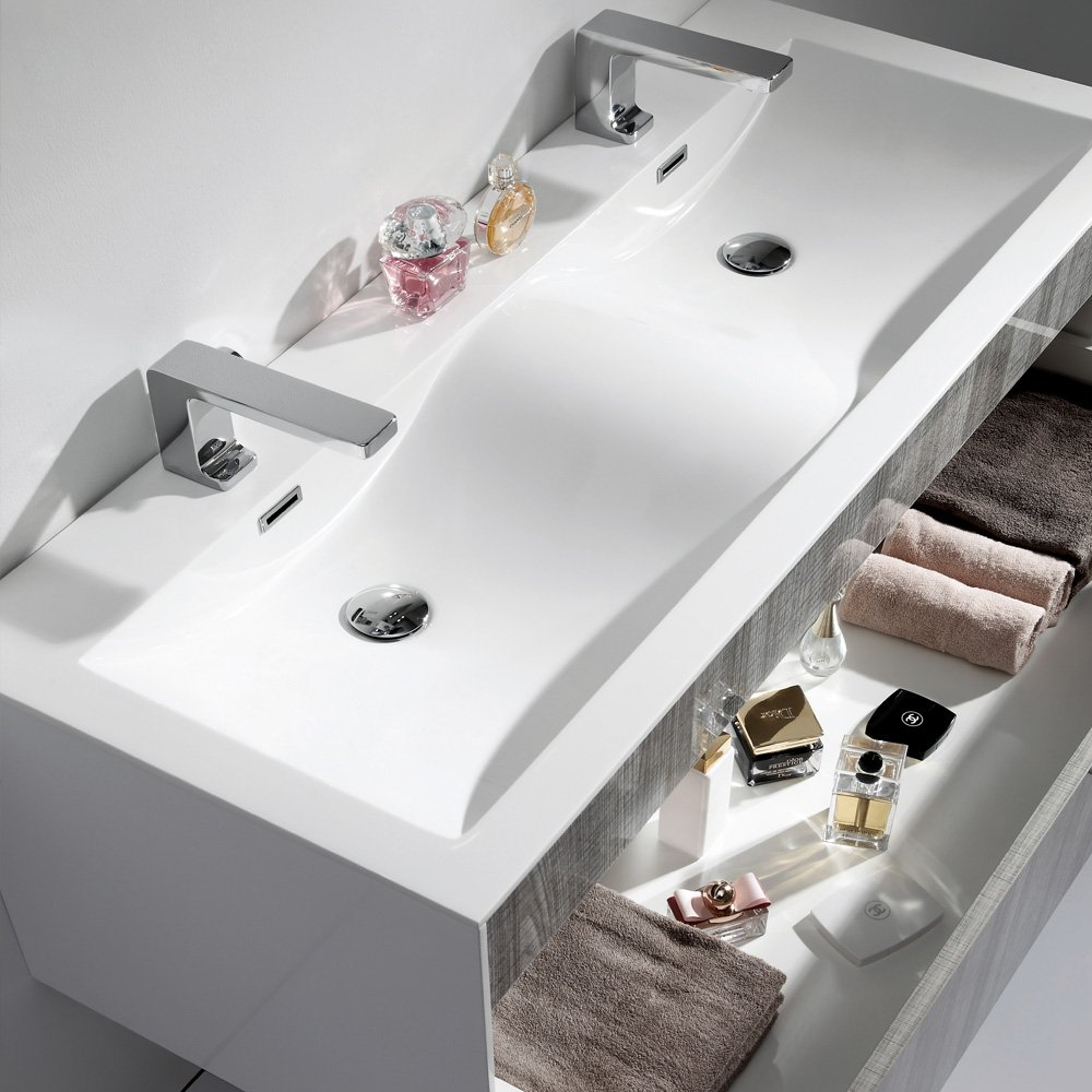 Bathroom sink and vanity unit - Lusso Stone Encore Double Designer Wall Mounted Bathroom Vanity Unit Double Basin Vanity Units