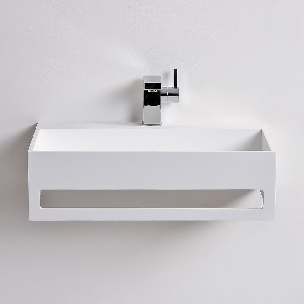 Lusso Stone Ethos Flow Solid Surface Stone Resin Square Wall Hung Basin 600 Stone Resin Basins