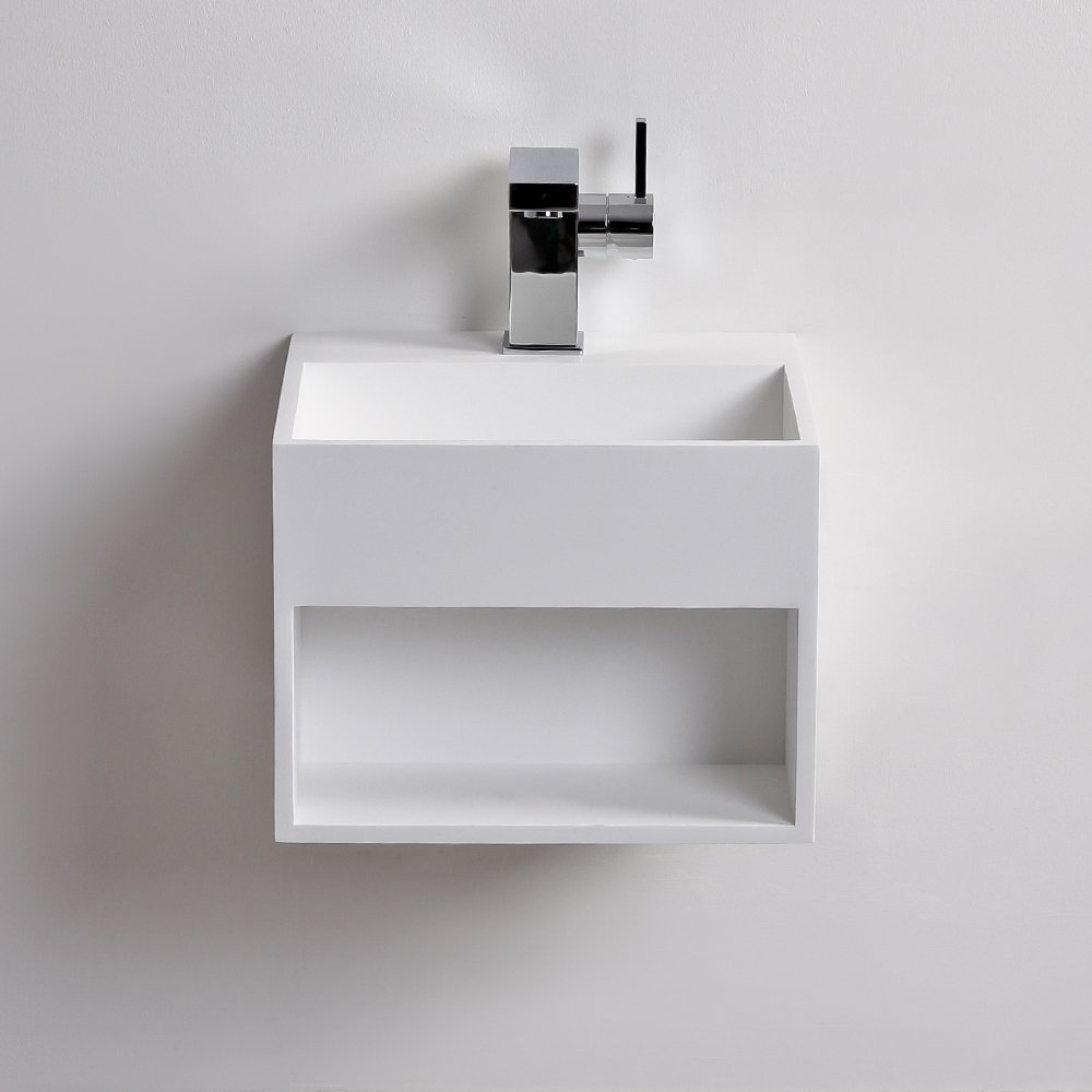 Lusso Stone Ethos Mini Solid Surface Stone Resin Wall Hung Basin 330 Stone Resin Basins