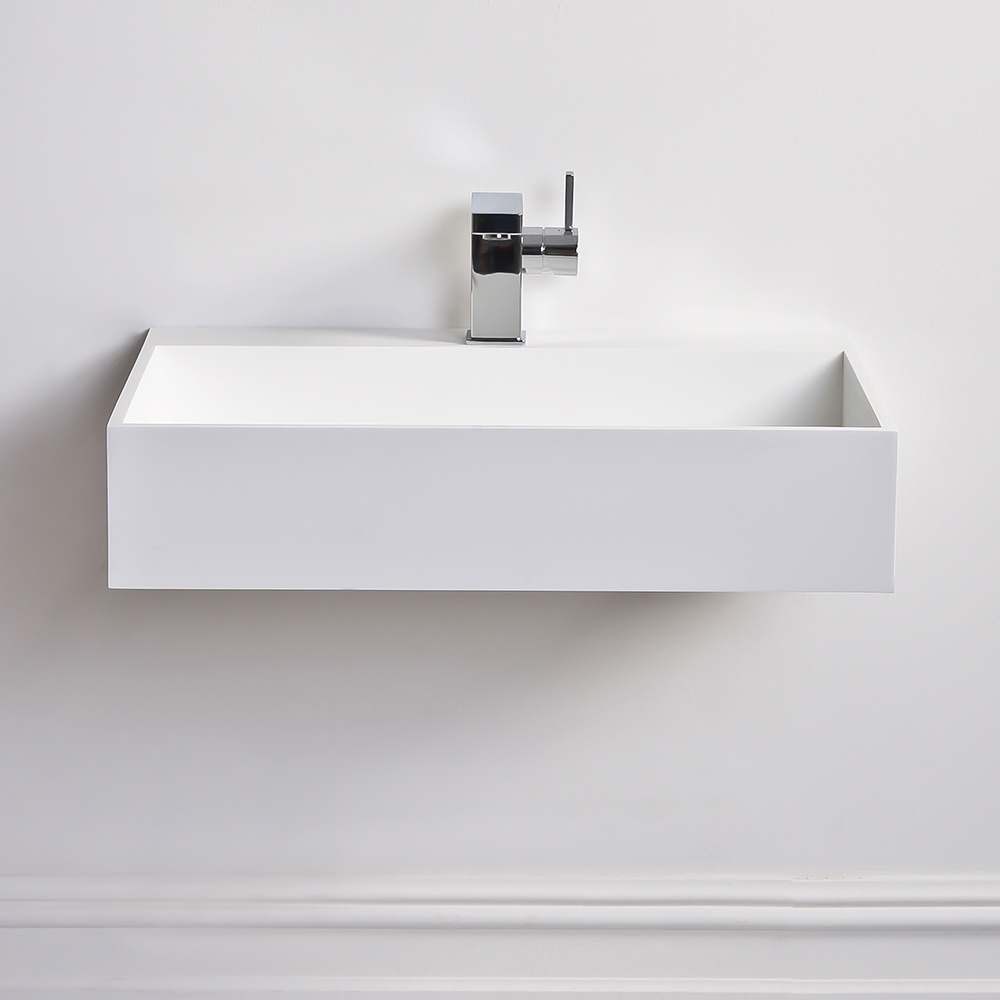 ... Ethos slim Solid surface stone resin counter top wall hung basin 620