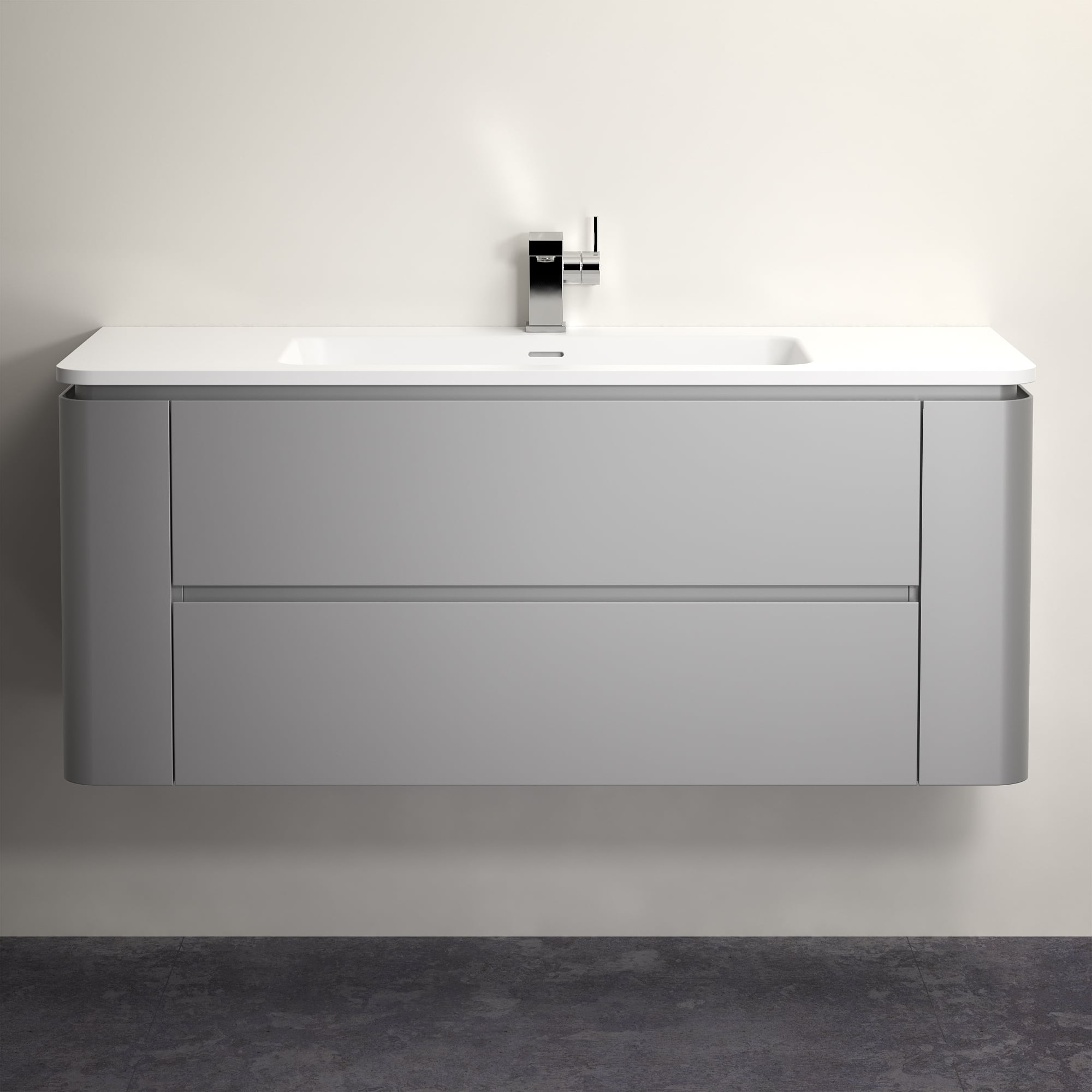 Lusso Stone Fontane Matte Concrete Grey Vanity Unit And