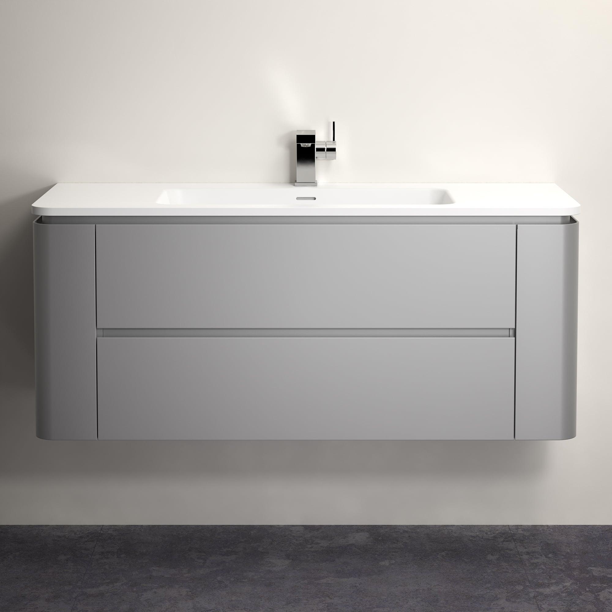 Lusso Stone Fontane Matte Concrete Grey Vanity Unit And