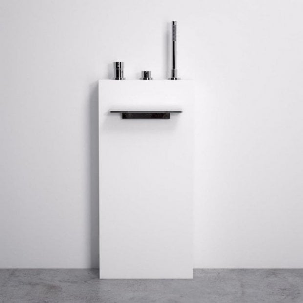 Lusso Stone Freestanding Bath Filler Column With Waterfall Spout & Hand Shower