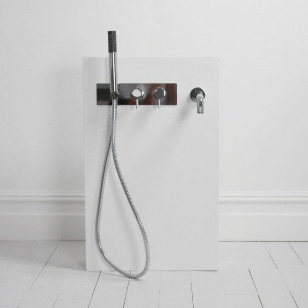 Lusso Stone Freestanding Stone Resin Bath Tap Column