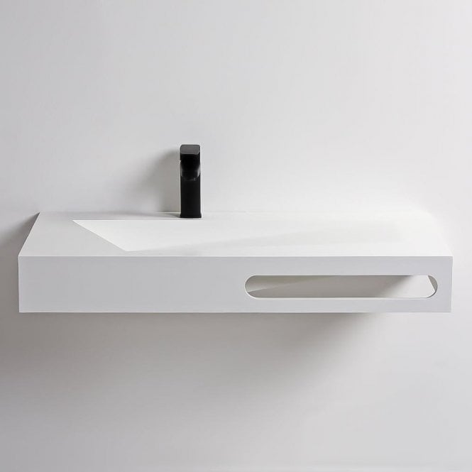 Lusso Stone Geo Stone Resin Wall Hung Basin 900