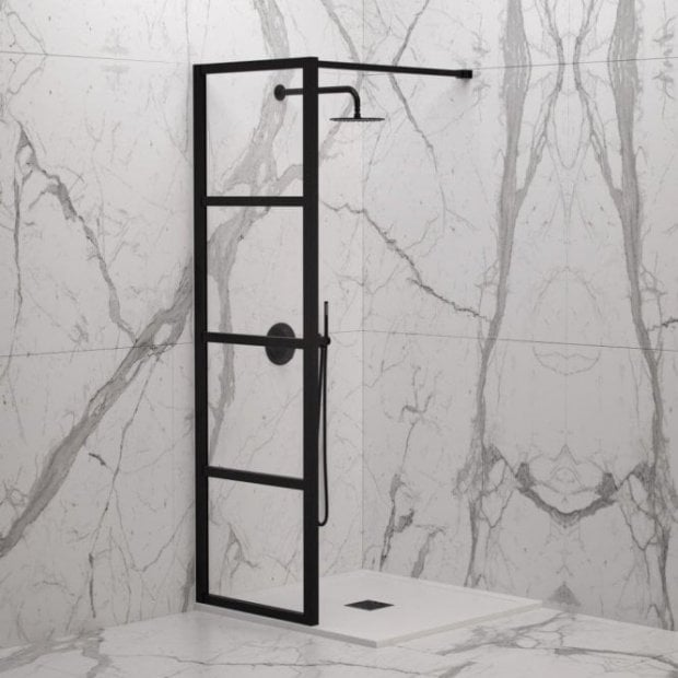 LUSSO STONE INDUSTRIAL COMPLETE WALK IN SHOWER ENCLOSURE - KIT A (ALL SIZES)