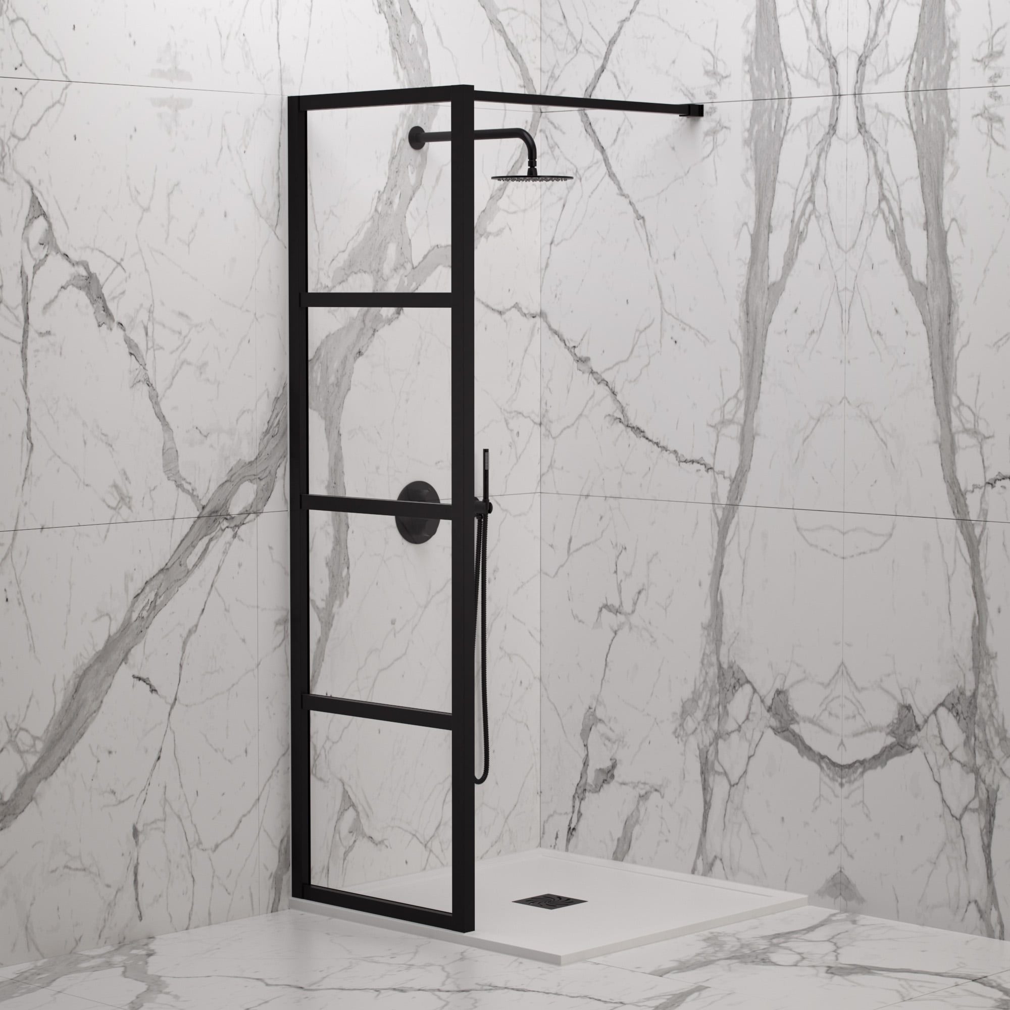 LUSSO STONE INDUSTRIAL COMPLETE WALK IN SHOWER ENCLOSURE   KIT A (ALL SIZES)