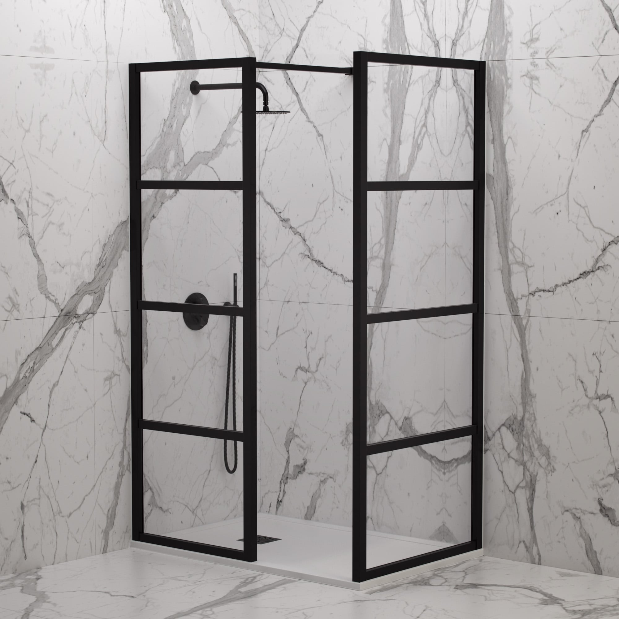 Lusso Stone Industrial Complete Walk In Shower Enclosure