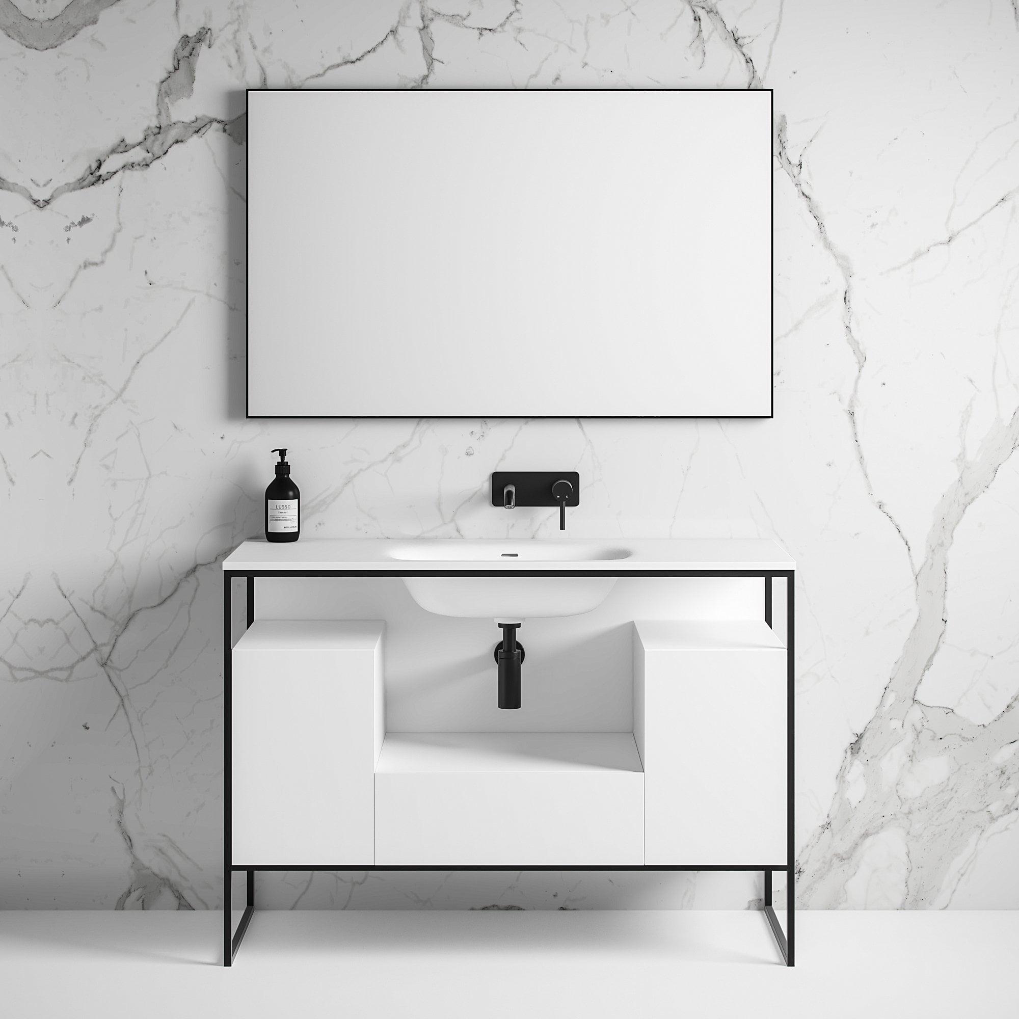 Luxe 1200 Matte Black Framed Freestanding Bathroom Vanity Unit
