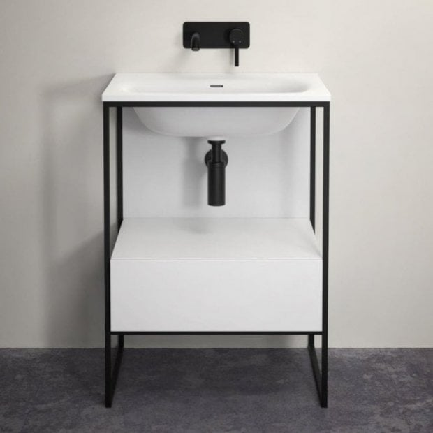 LUSSO STONE LUXE 600 MATTE BLACK STEEL FRAMED BATHROOM VANITY UNIT