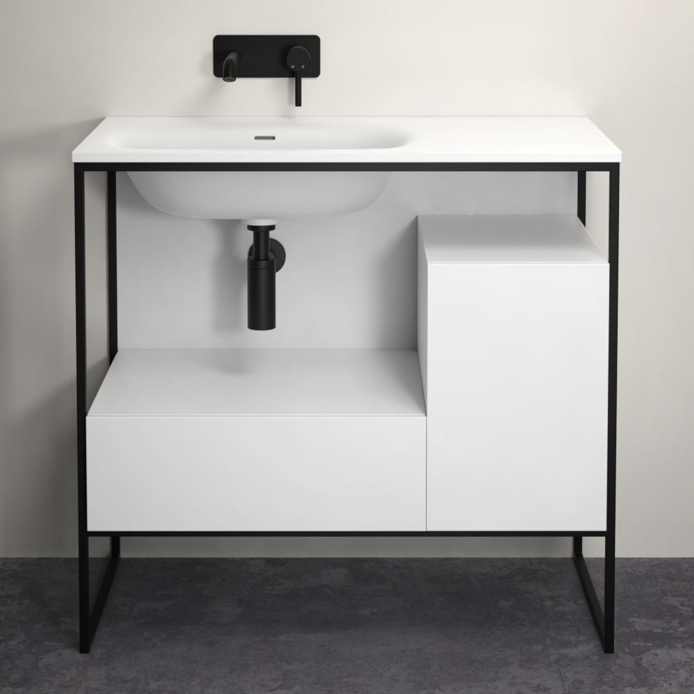 LUSSO STONE LUXE 900 MATTE BLACK STEEL FRAMED BATHROOM VANITY UNIT