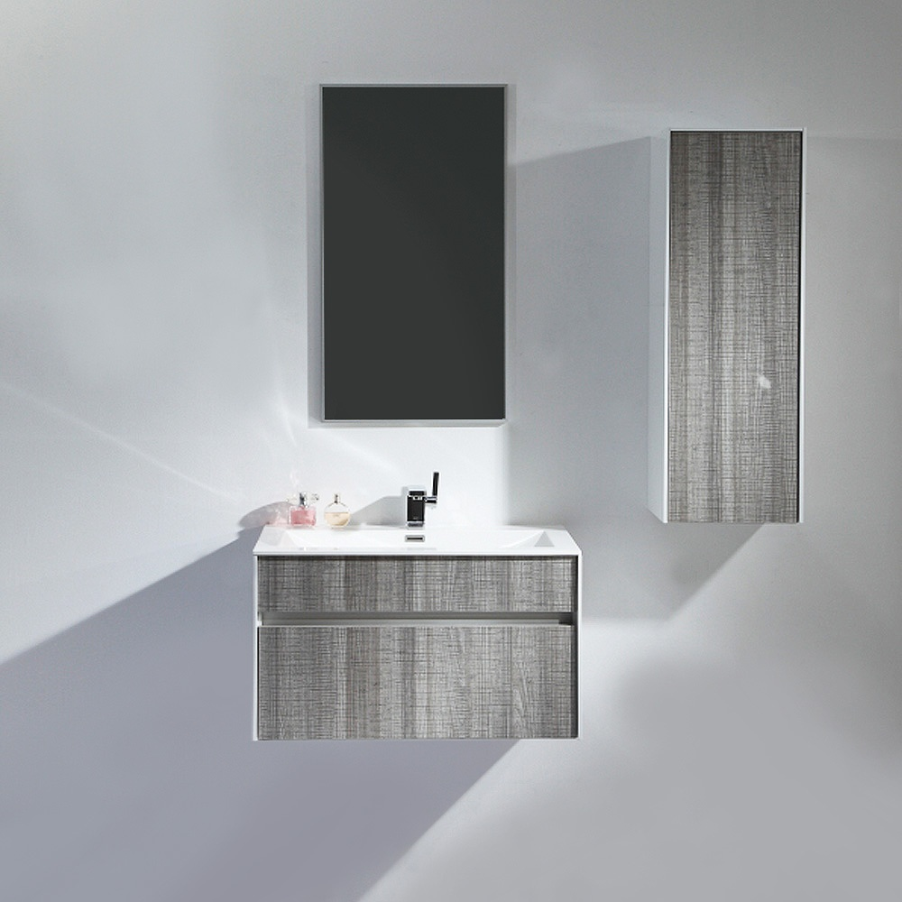 Lusso Stone Mirage Grey Designer Wall Mounted Bathroom Vanity Unit 800 Units