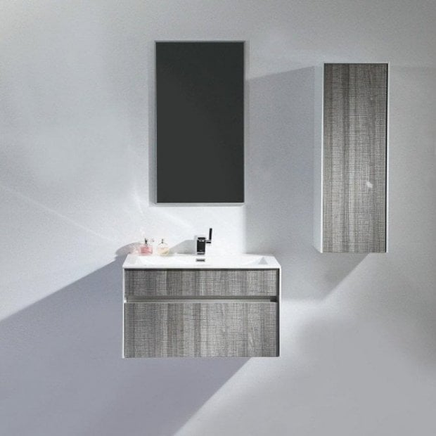 Lusso Stone Mirage Grey Designer Wall Mounted Bathroom Vanity Unit 800