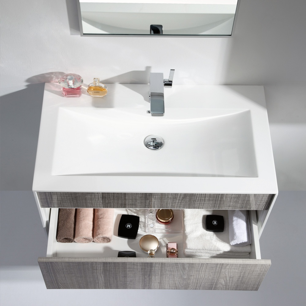 Milano stone ash grey designer vanity unit 70 off - Marble vanity units ...
