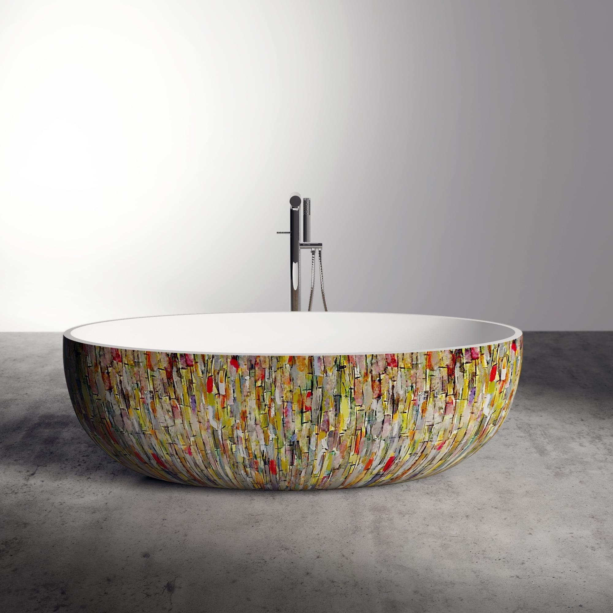 Lusso Stone Morini Canvas Resin Hand Painted Freestanding Bath 1700