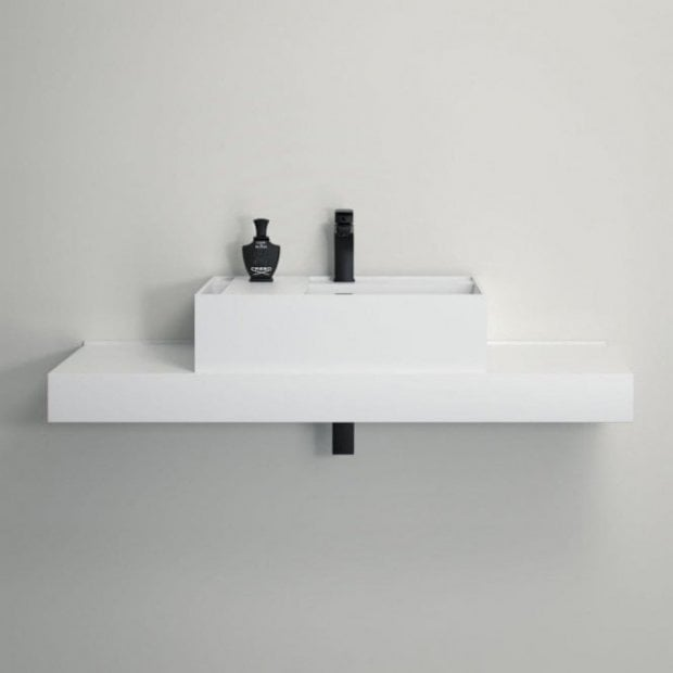 Lusso Stone Neos Solid Surface Stone Resin Wall Hung Counter Top Basin 600