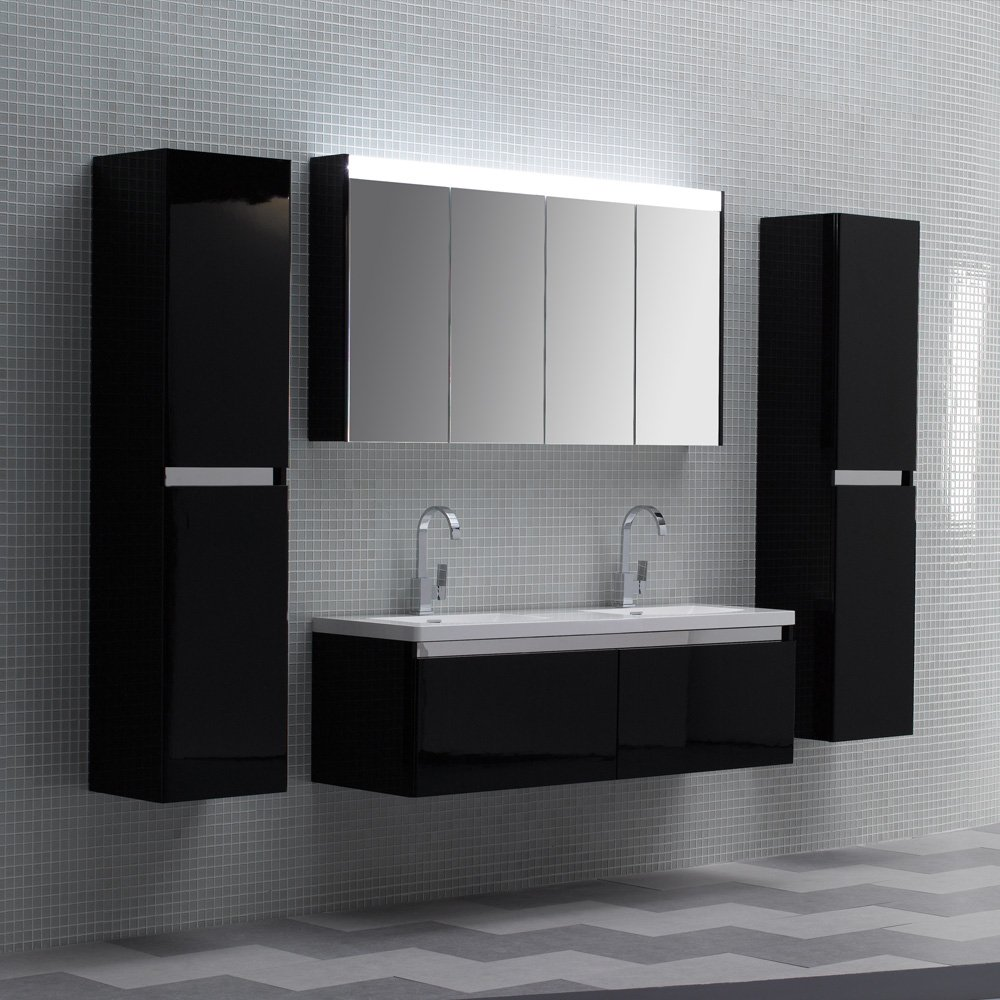 Lusso Stone Noire Double Designer Bathroom Wall Mounted Vanity Unit 1500 Vanity Units