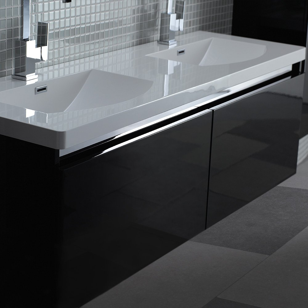 double vanity units for bathrooms. Lusso Stone Noire Double Designer Bathroom Wall Mounted Vanity Unit 1500
