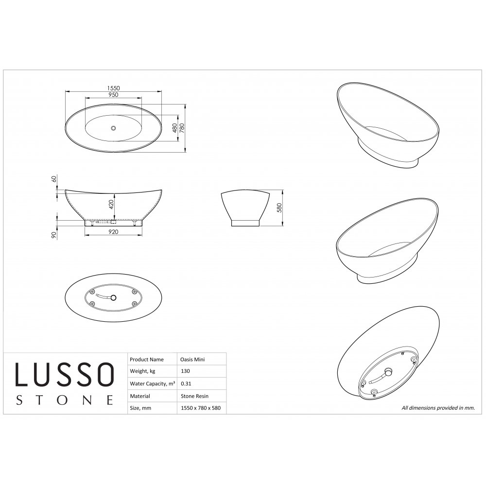 Lusso Stone Oasis Mini Stone Resin Solid Surface