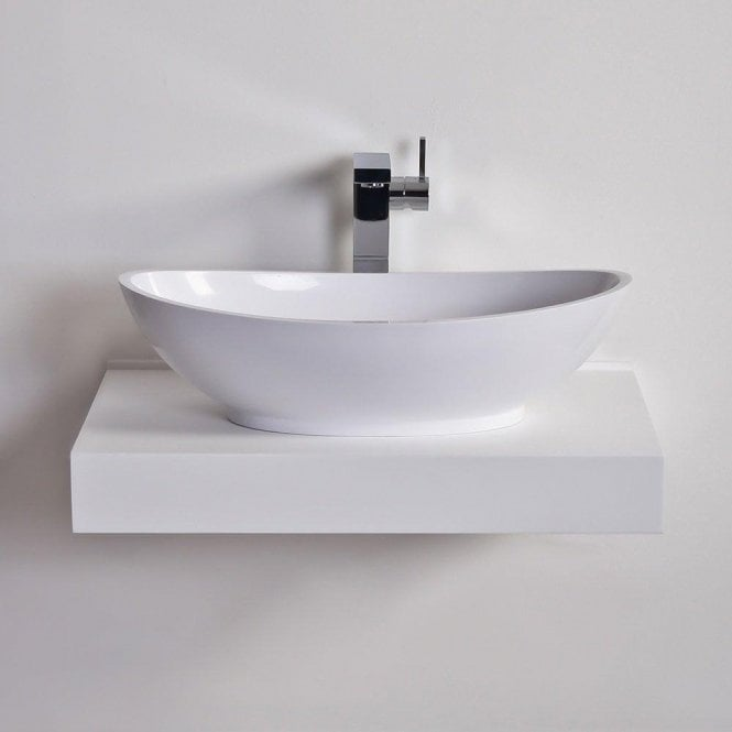 Lusso Stone Oasis Solid Surface Stone Resin Counter Top Basin 600