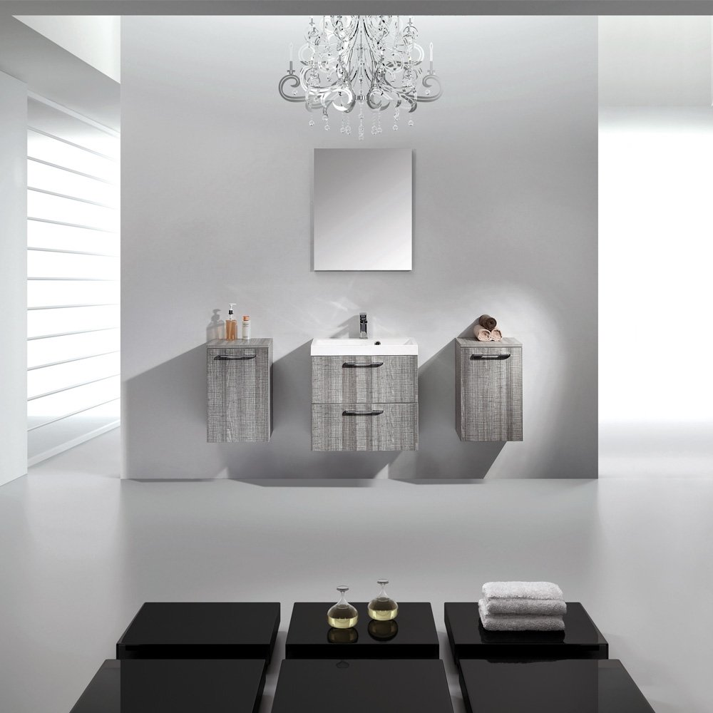 Lusso stone palazzo grey designer wall mounted bathroom - Designer wall hung bathroom vanity units ...