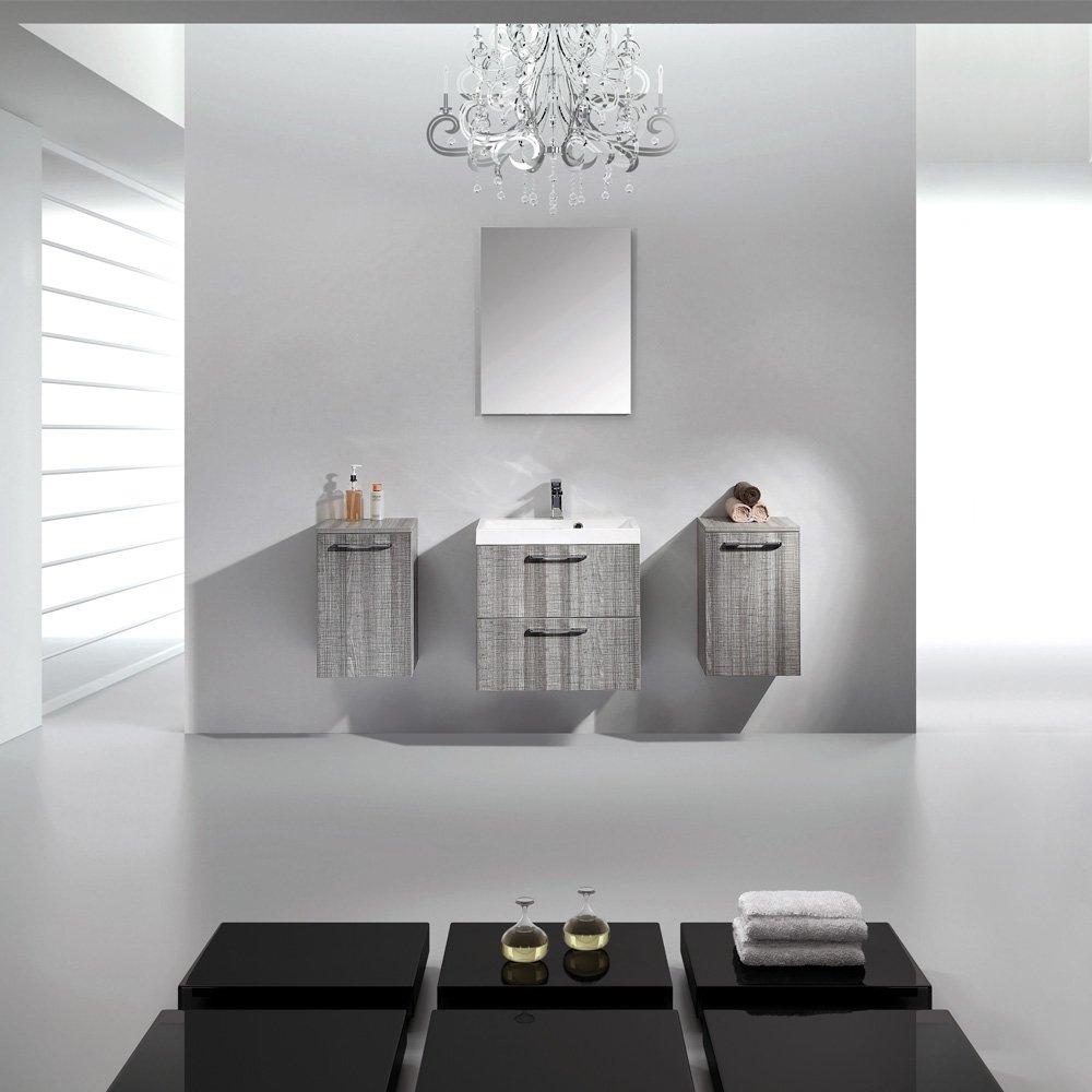 Lusso Stone Palazzo Grey Designer Wall Mounted Bathroom Vanity Unit 800