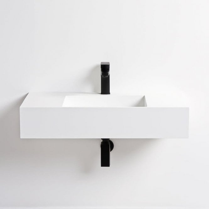 Lusso Stone Prisma Large Solid Surface Stone Resin Wall Hung Basin 800