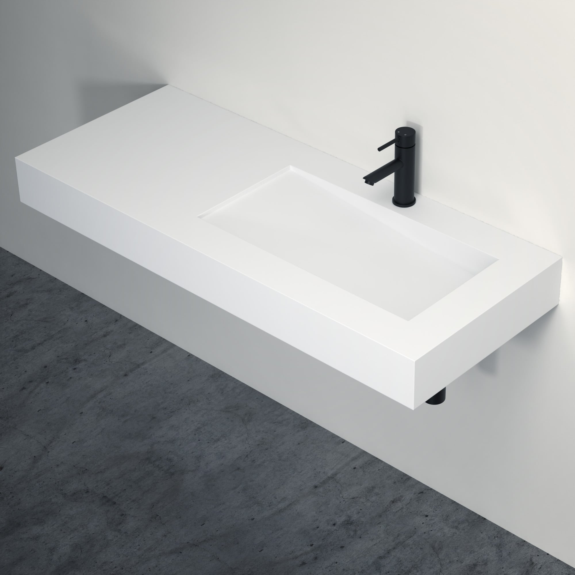 Lusso Stone Slope Solid Surface Stone Resin Wall Hung Basin 1200