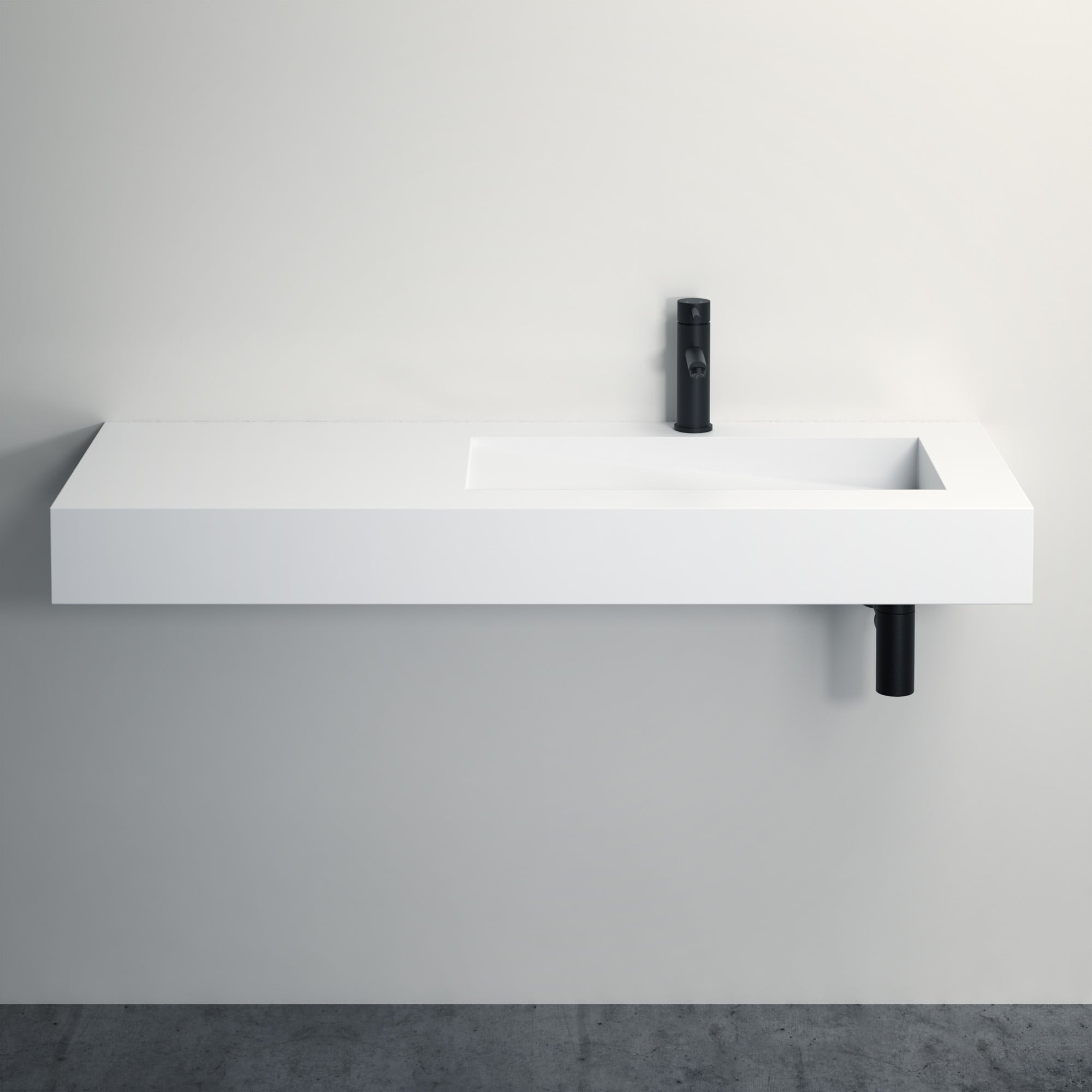 Lusso Stone Slope Stone Resin Wall Hung Basin 1200 Stone