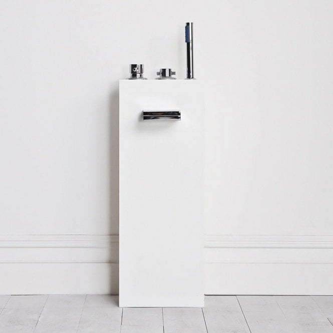 Lusso Stone Square Tall Freestanding Stone Resin Bath Filler Column With Waterfall Spout & Hand Held Shower