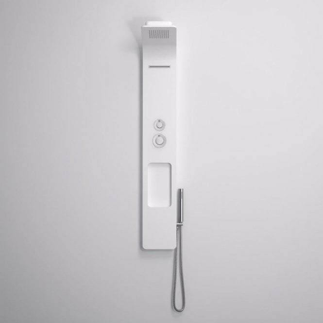 Lusso Stone Stark Stone Resin Thermostatic Shower Panel with waterfall spout