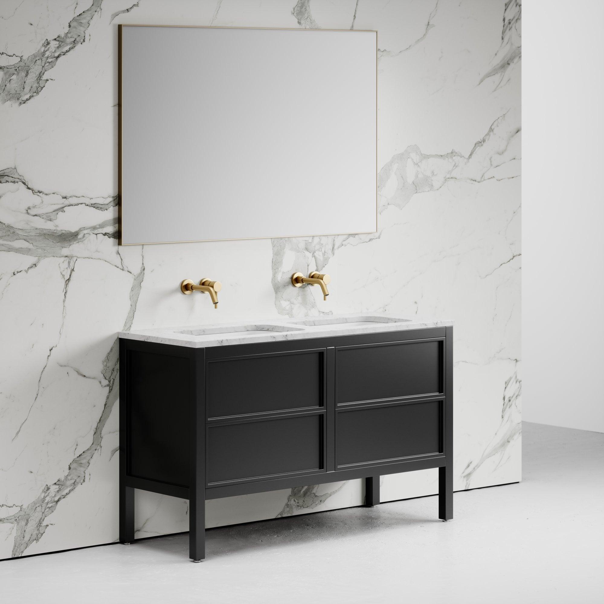 Stratford Bathroom Vanity Unit Black With Carrara Marble 1400 Vanity Units