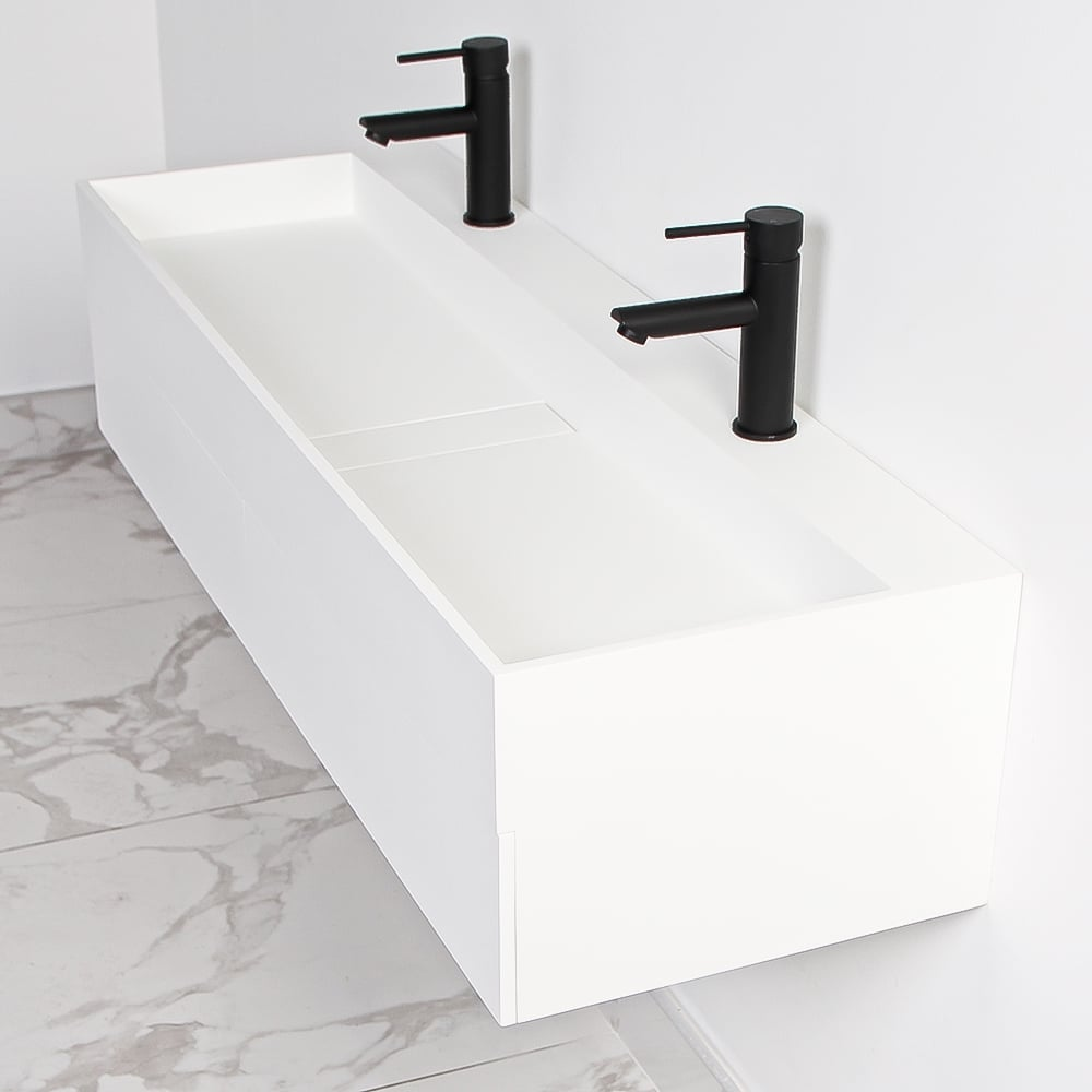 Lusso Stone Thinn Slimline Double Basin Draw Vanity Unit 1200
