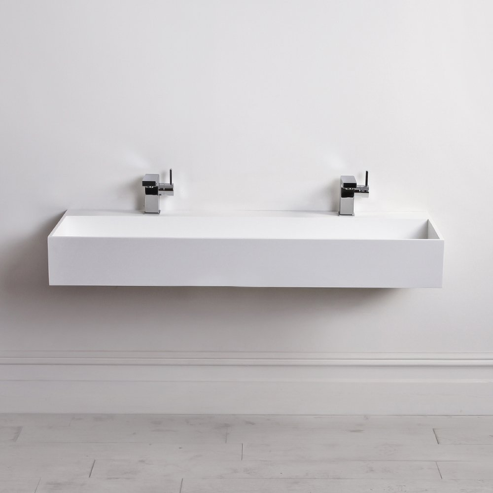 Lusso stone thinn solid surface stone resin wall hung for Double bathroom sink basin