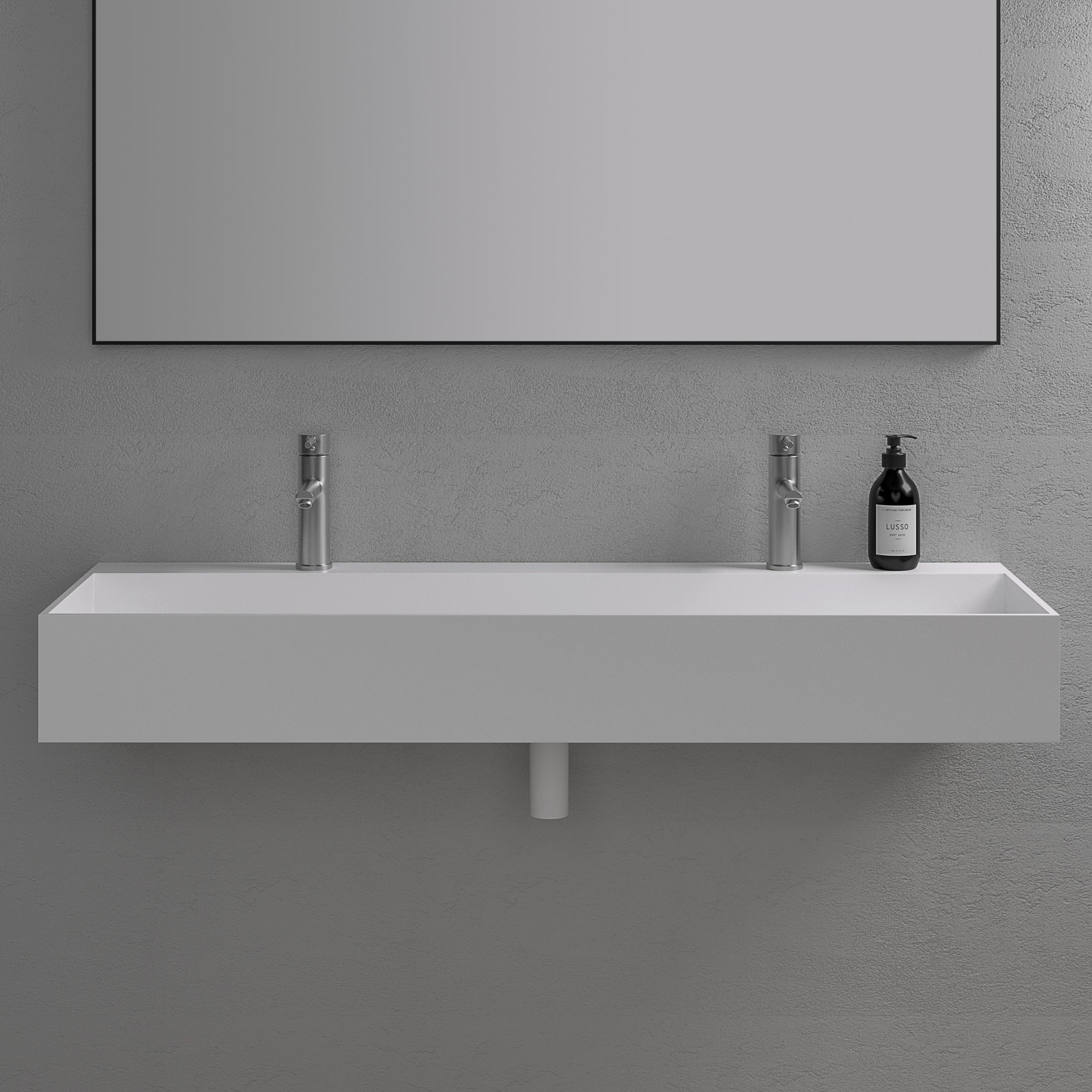 Lusso Stone Thinn Stone Resin Wall Hung Double Basin 1200 Stone