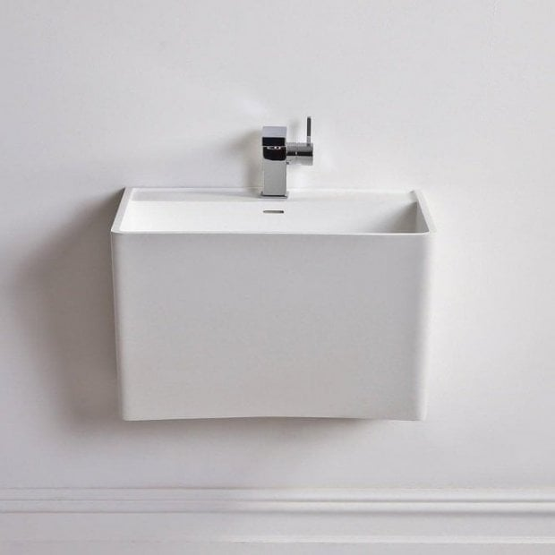Lusso Stone Vado Solid Surface Stone Resin Wall Hung Basin 560