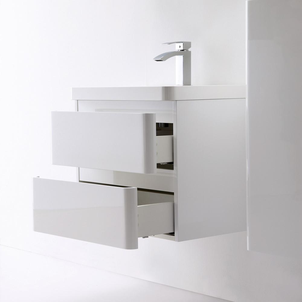 Luxurious milano stone high gloss white vanity unit - Designer vanity units for bathroom ...