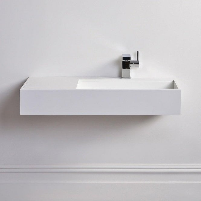 Lusso Stone Veno Large Solid Surface Stone Resin Wall Hung Basin 800