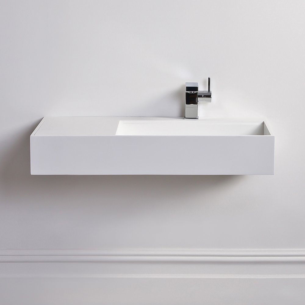 Lusso Stone Veno Large Stone Resin Wall Hung Basin 800