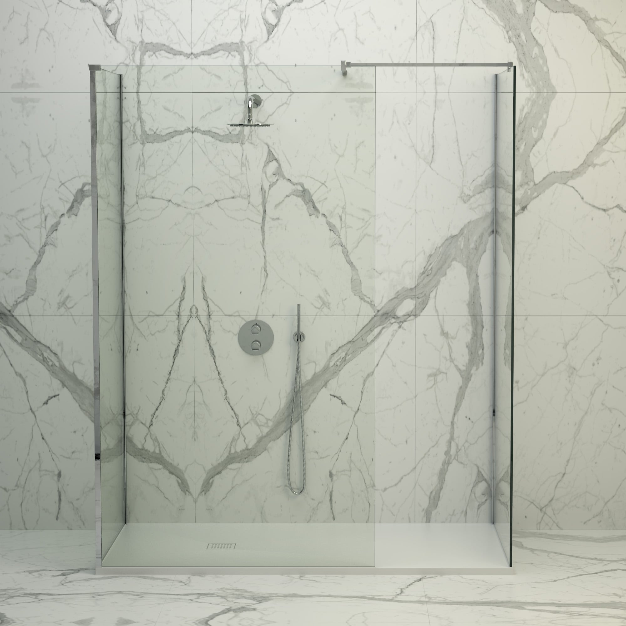 Lusso Stone Vigo Complete Walk In Shower Enclosure   Kit D (ALL SIZES)