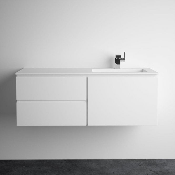 Lusso Stone Vola Matte white vanity unit and basin 1200