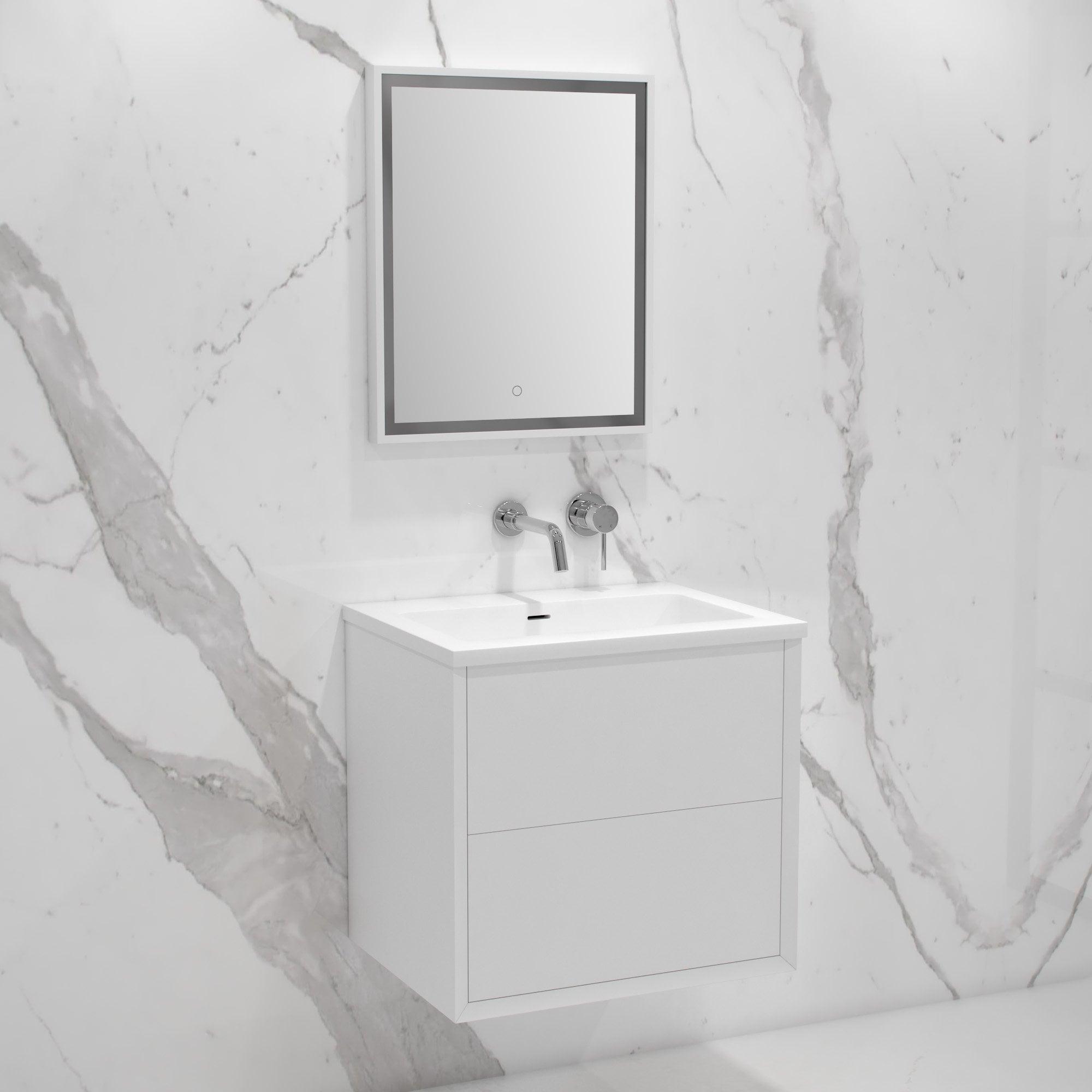 Lusso stone volini bathroom vanity unit matte white 600