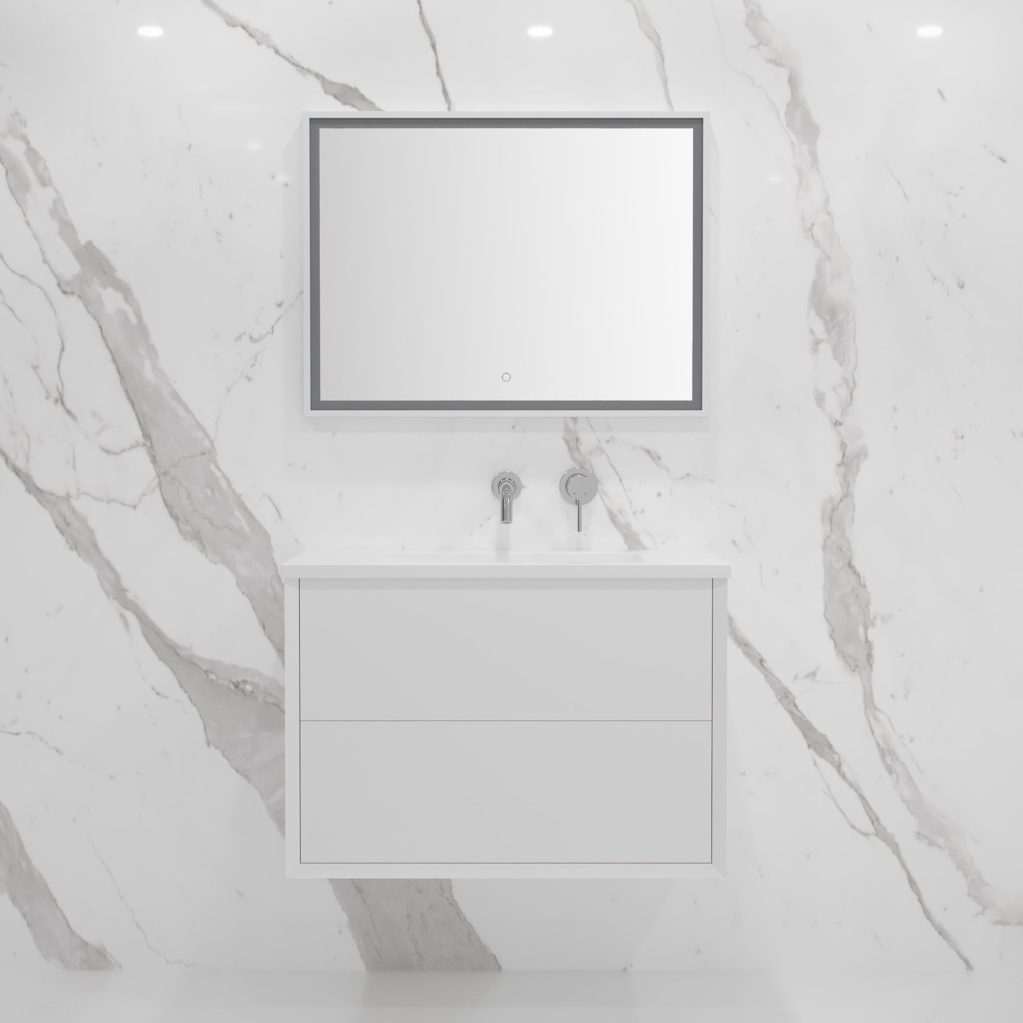 Lusso Stone Volini Bathroom Vanity Unit Matte White 800