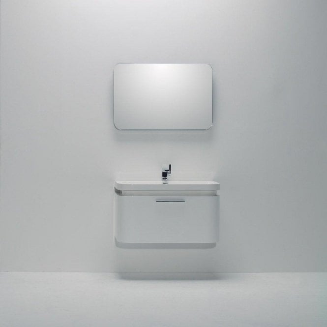 Lusso Stone Vos White Wall Mounted Designer Bathroom Vanity Unit 900