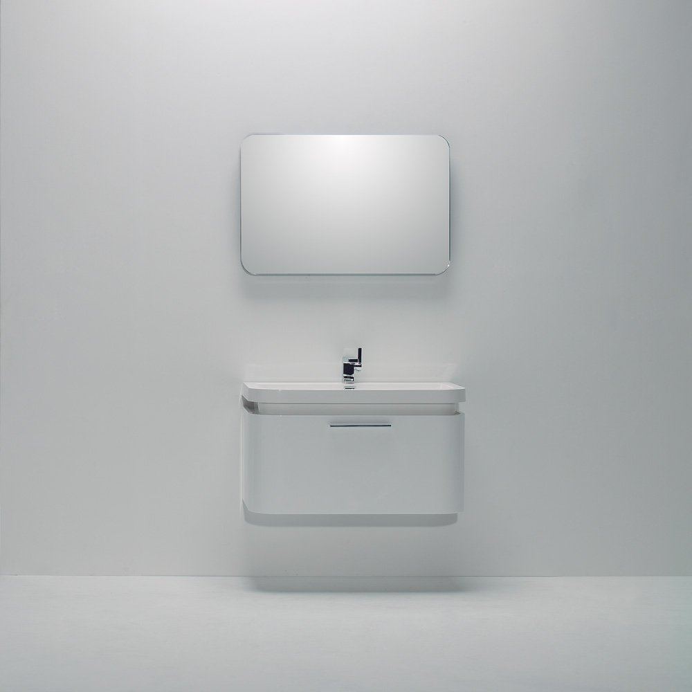 Lusso Stone Vos White Wall Mounted Designer Bathroom Vanity Unit 900 Vanity Units