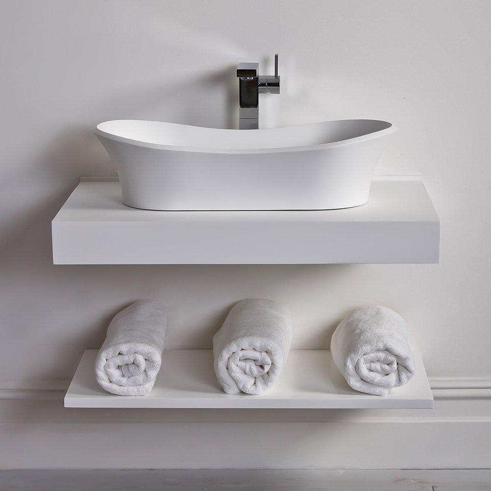 lusso stone wall hung slimline countertop basin shelf 800