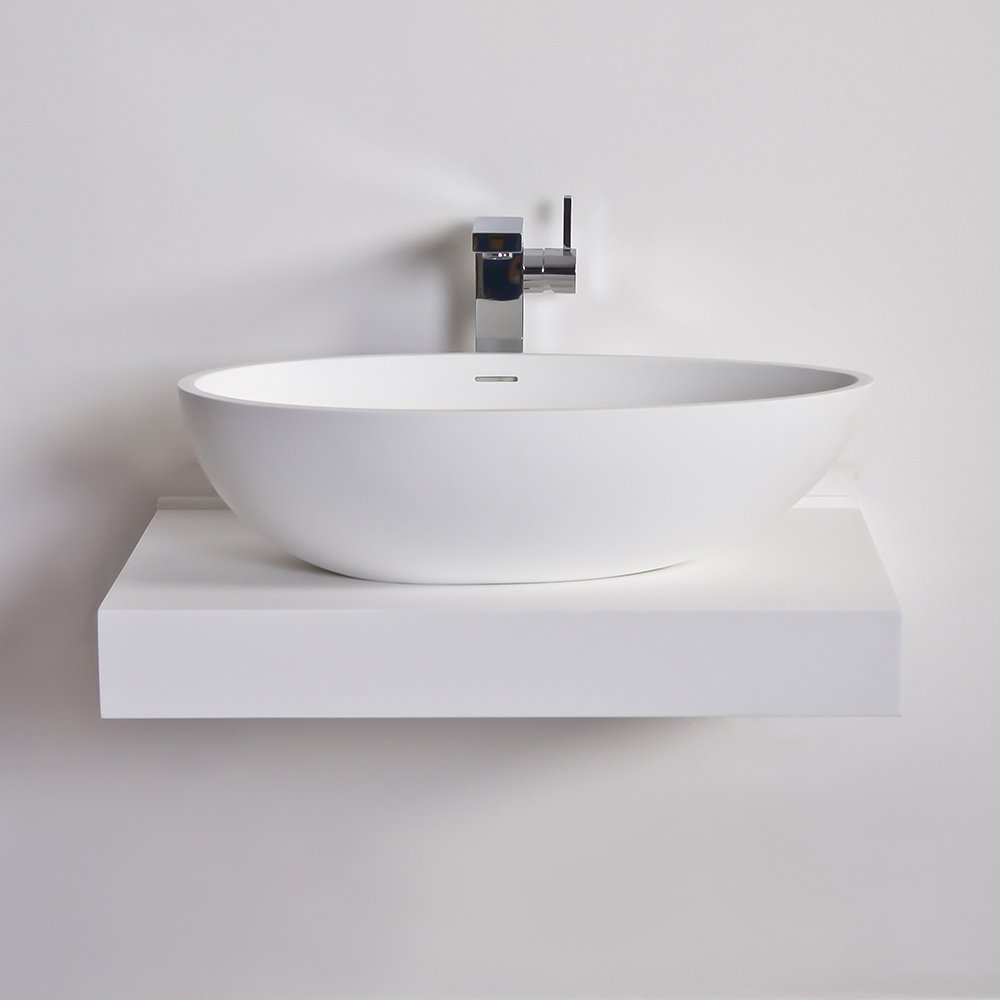 Lusso stone wall hung slimline countertop basin shelf for Duravit salle de bain
