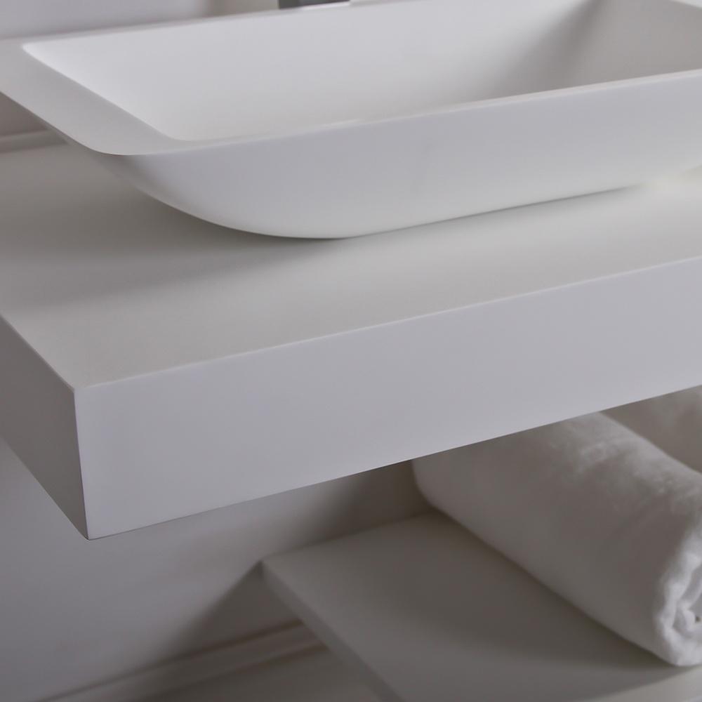 Lusso Stone Countertop Vanity Shelf Basin Shelf