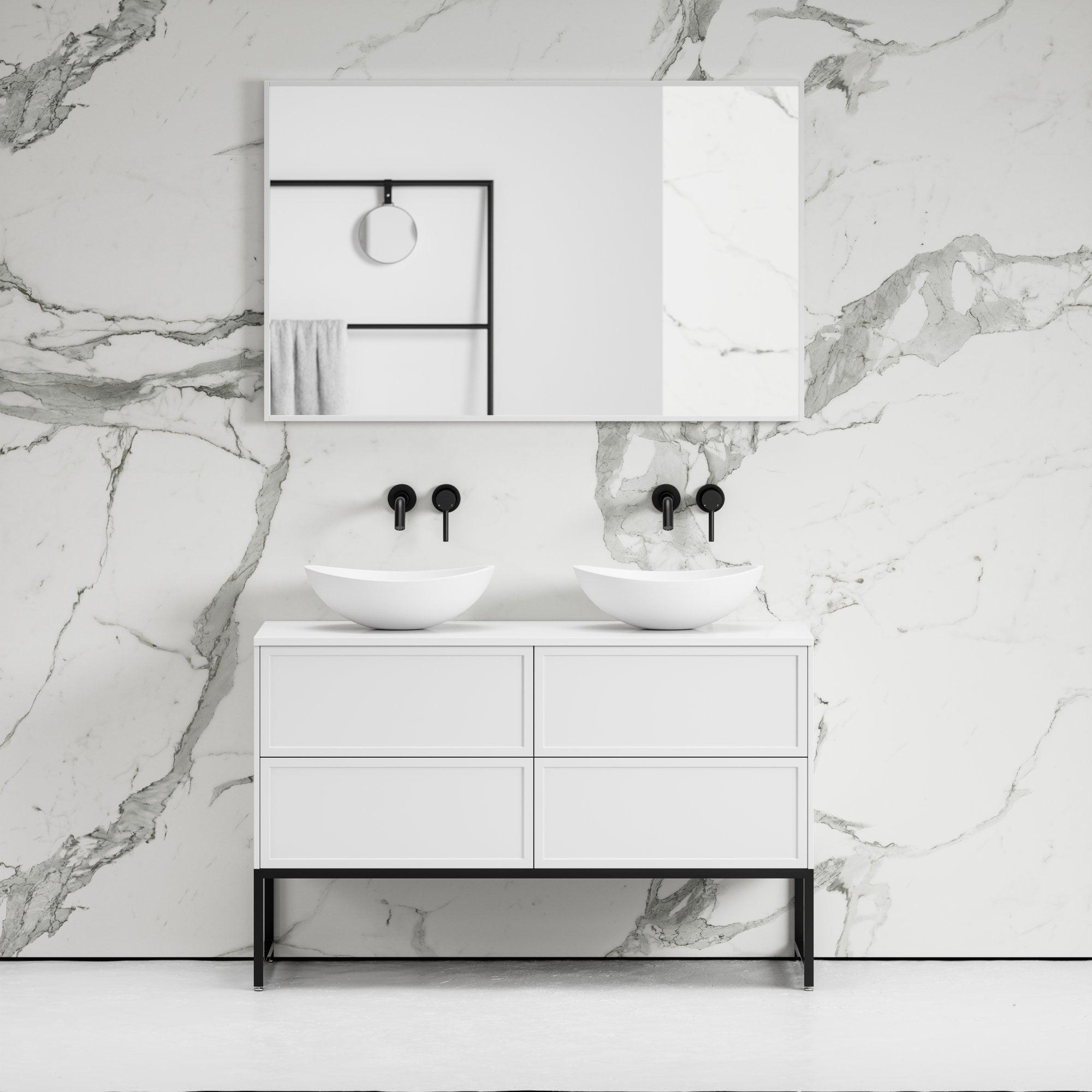 Vanita Freestanding Bathroom Vanity Matte White 1200 Vanity Units